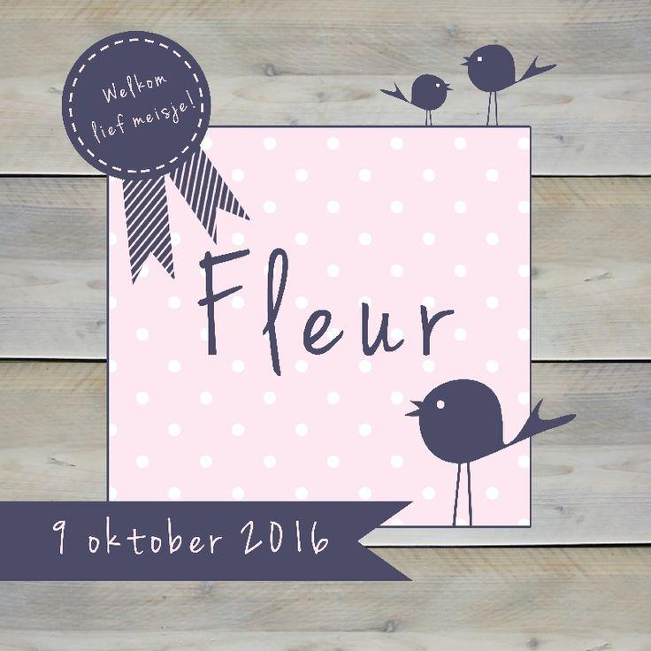 Geboortekaartje Fleur - www.babyjewels-geboortekaarten.nl