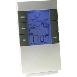Unique forecasting multi function desk top item, features include calendar, alarm clock, 24hr time display, temperature, digital hygrometer, 12hr thermometer trend and blue LED backlight. Includes 2 x AAA batteries. Boxed.