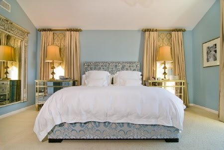 """Love, love this paint color.  Farrow & Ball - Parma Gray 27.  """"Torie & Dean's Bedroom."""