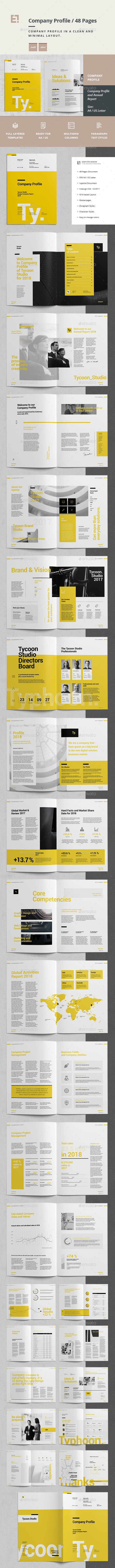 Annual Report Brochure Template InDesign INDD - 48 Custom Pages, A4 and US Letter Size