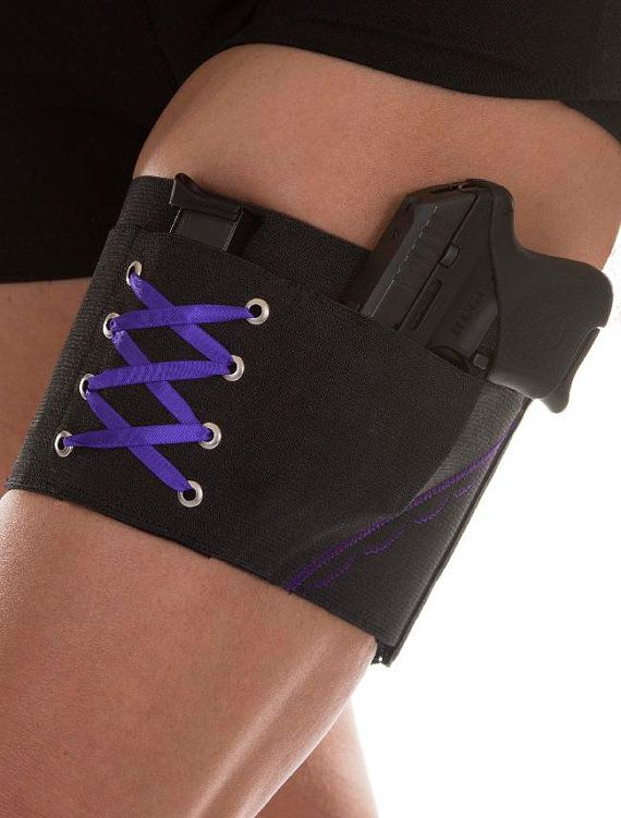 Purple On Black Garter Holster for Concealed Carry under Skirts