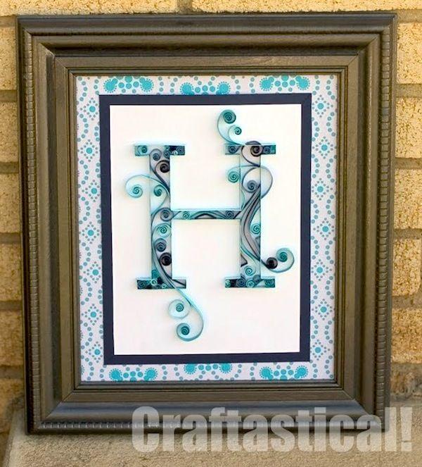 Quilled monogram letter art