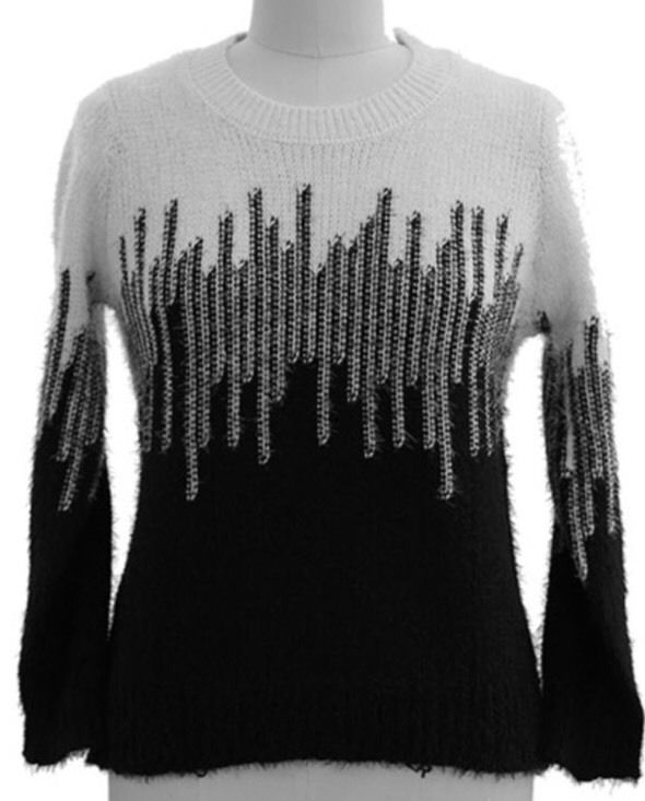 Sweater Black White Coloblock Womens Size 2X   | eBay