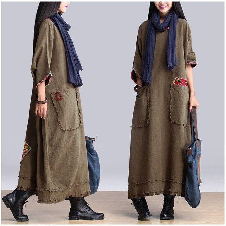 Art Big Pocket Maxi Size Casual Loose Long Dresses Women Clothes Q2601A
