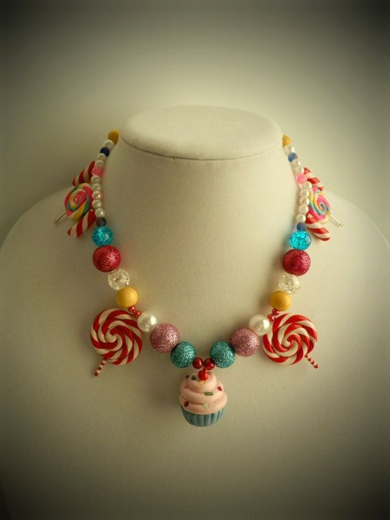 Cupcake Lollipop Candy Land Necklace von twistedlollyboutique