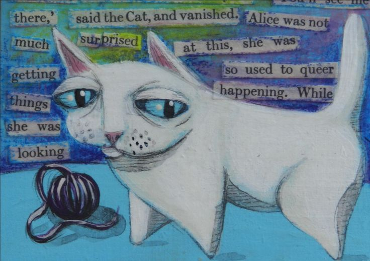 See You, 2011, 4 x 5 inches on wood panel (Mixed media, text from Alice in Wonderland) By Margo Hebert