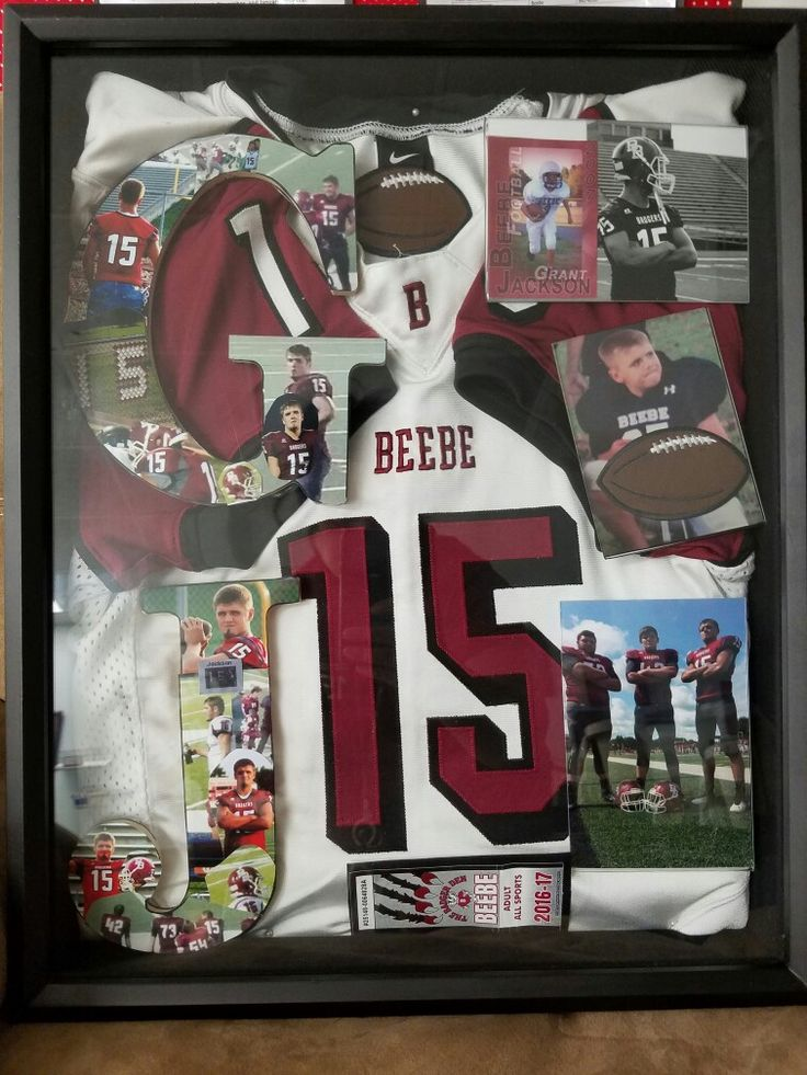 Senior High football shadow box. It is a collection of memiors from my son's football career.