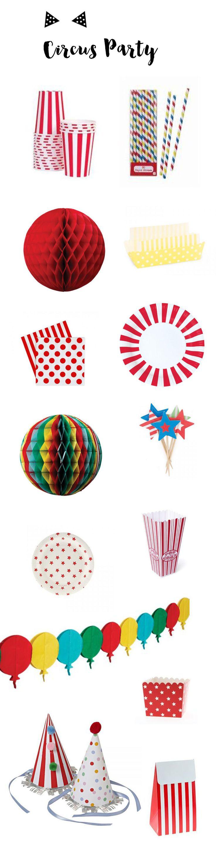 Vaisselle et accessoires de décoration pour un anniversaire sur le thème du cirque. #cirque #circus #popcorn #fete #kids #anniversaire #fiesta #babyshower #etoiles #deco  www.rosecaramelle.fr