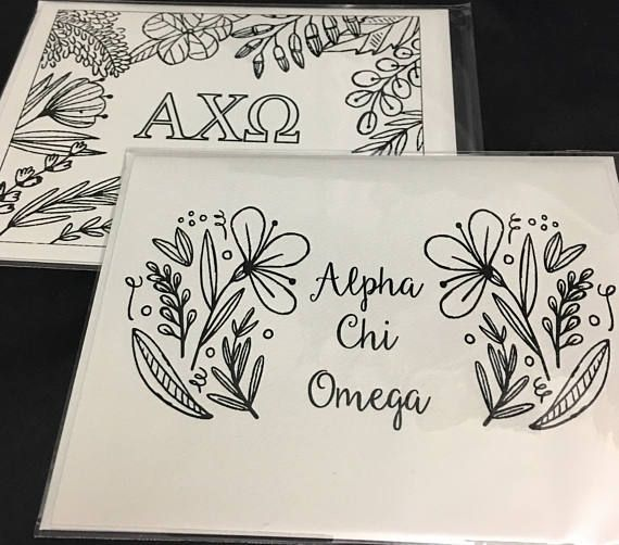 Alpha Chi Omega AXO | 12 Spring Coloring Notecards | Sorority Recruitment BidDay Reveal | Big Little Gift | Study Break | Graduation | Greek