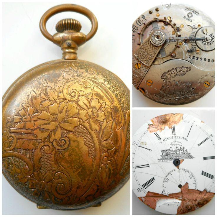 Antique Swiss Pocket Watch 21 Jewel NHW Co. Special Railroad Pocket Watch Hunter Case Clock Parts by nanascottagehouse on Etsy Potental works of art ... $200