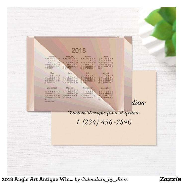 2018 Angle Art Antique White Calendar by Janz Business Card