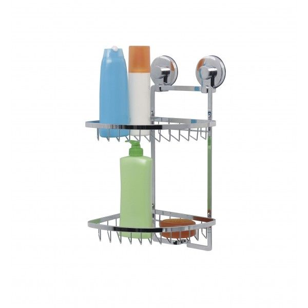 Everloc has a unique attachment system for their organisers which means simple installation with no drilling, hooks or damage to your walls. �The bathroom caddy is able to hold 15kg and the thermoplastic suction cup ensures it stays in place and is waterproof. The caddy has two shelves and is easy draining. �Very stylish finished in high quality chrome.