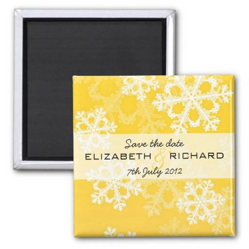 Yellow Snowflakes Christmas Magnet Fridge Magnets #yellow #weddinginvitations #weddings #wedding #invitations #savethedate