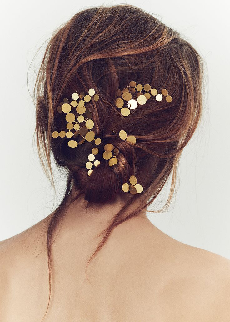 Luxury bridal hair accessories. 18k Gold plated Constelation pins (set of 9). Contemporary accessories that explore the power, mysticism and sensuality of female adornment. Hand Crafted the couture way in England.