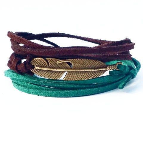 Pulseira Tupã verde esmeralda & marrom