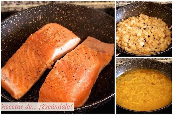 Como hacer la receta de salmon a la plancha en salsa a la naranja