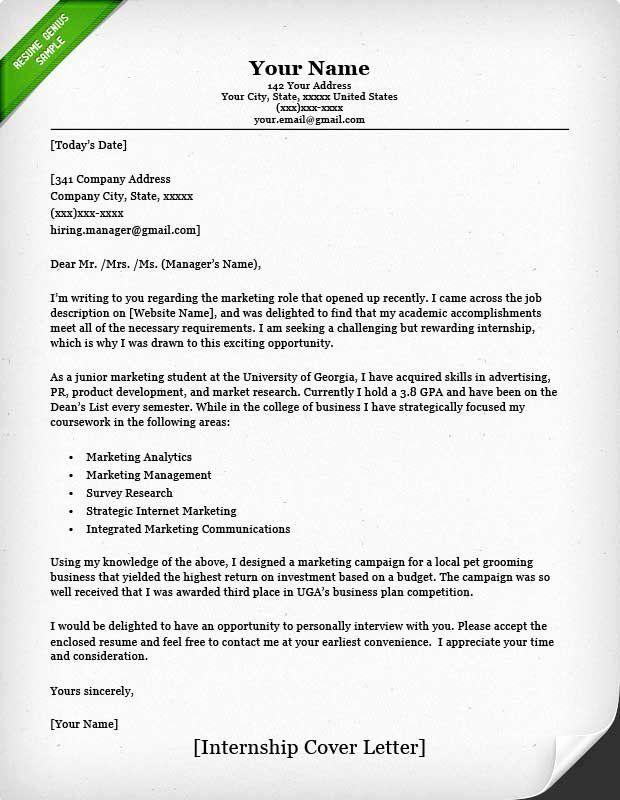40 Cover Letter For Internship Template Sample Resume Cover