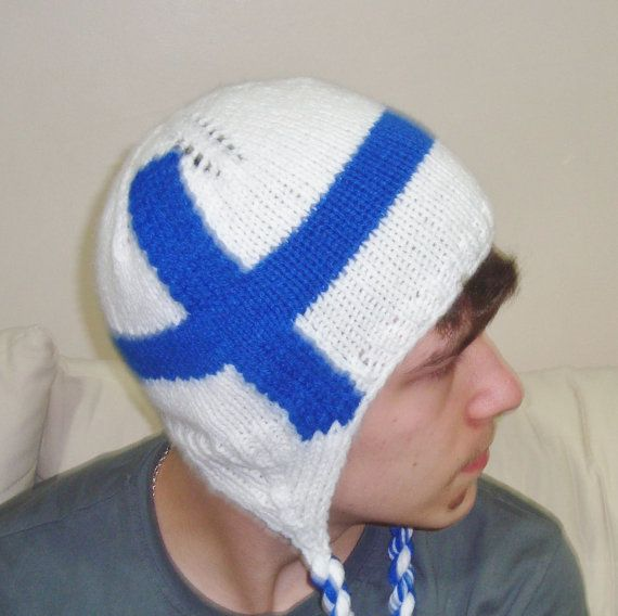 Finland Flag Beanie Finnish Hat in Blue & White for by earflaphats, $39.99