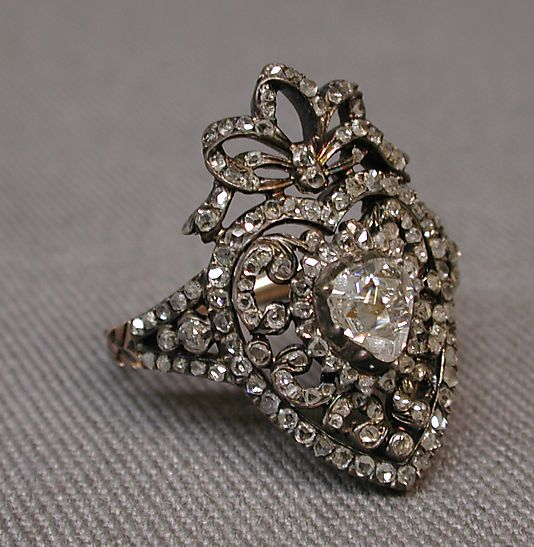 antique ring possibly by C. S., Paris, France, 19th century, made of gold, silver, and diamonds