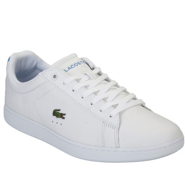 Lacoste Womens Carnaby EVO Trainers (80 CAD) ❤ liked on Polyvore featuring shoes, sneakers, white trainers, white sneakers, lacoste trainers, white shoes and lacoste