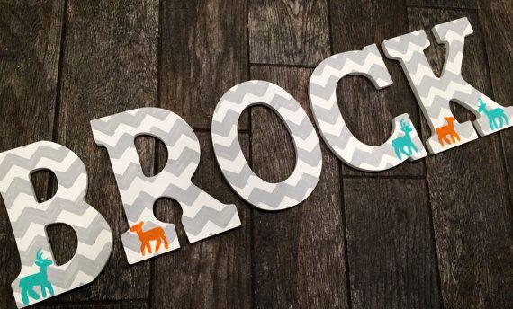 Chevron wooden letters  chevron and deer designed custom