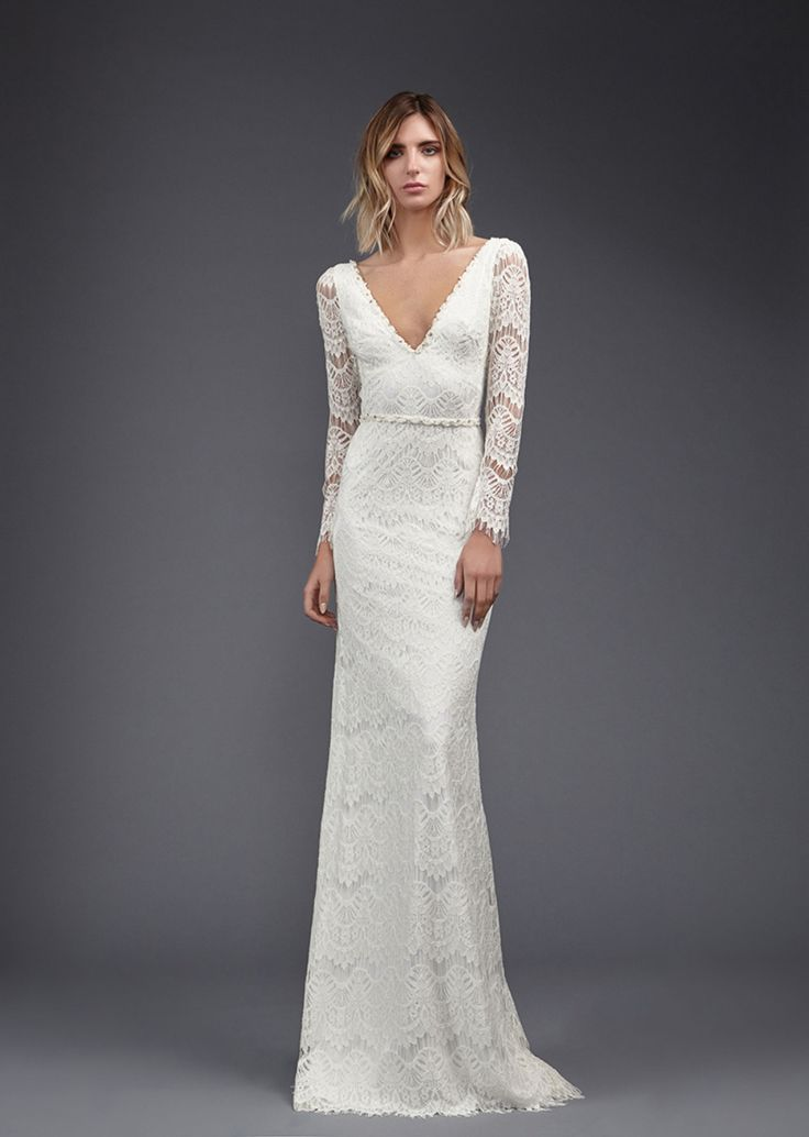 Victoria KyriaKides spring 2017 collection presents a powerful collection of  magnificent silhouettes. Modern details appear on classics. The iconic  V neck line adds a geometric dimension to the collection. The wrap  dress is a central silhouette, and masterfully created high slits remain  entirely inconspicuous until a bride may decide to reveal them.Dresses  posses elements of surprise: a delicate layer of clear crystals  twinkles subtly under diaphanous fabrics. White sequin hand…