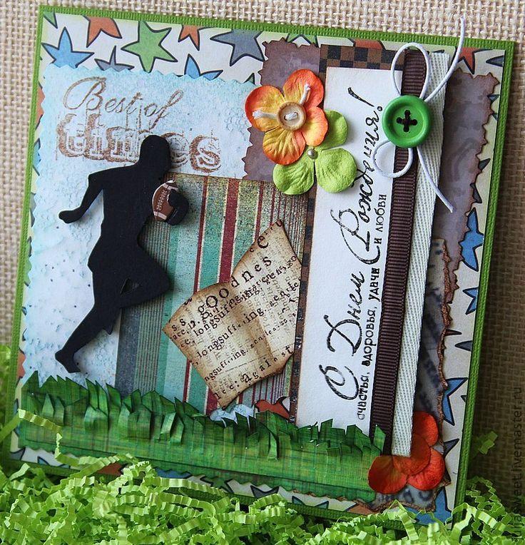 """Купить Мужская открытка """"Регби"""" - Открытка ручной работы, открытка, открытка на день рождения, открытки"""