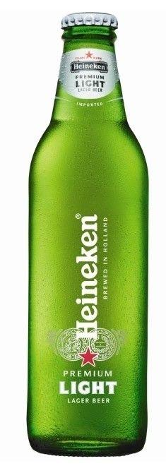 Cerveja Heineken Light, estilo Lite American Lager, produzida por Heineken Nederland, Holanda. 5% ABV de álcool.