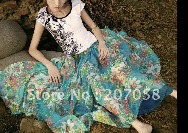 ladies' bohemia long printed chiffon long skirt: Long Dresses, 7M Chiffon, Full Skirts, Long Skirts, Chiffon Long, Long Maxi Skirts