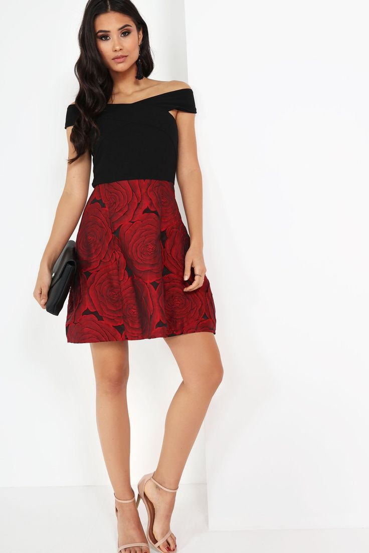 """Midweight stretch fabric Bardot style Red textured floral skirt Concealed back zip fastening 100% Polyester Handwash Model wears a size 8and her height is 5'7"""""""