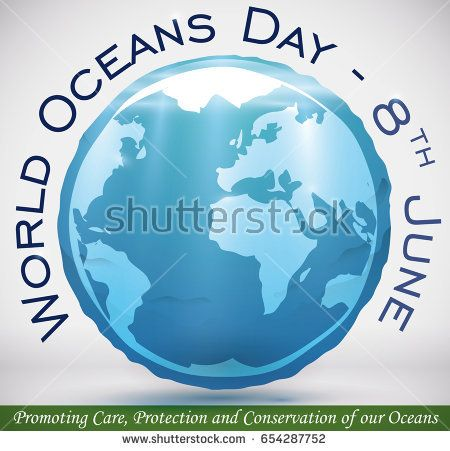 Poster with watery sphere floating and Earth planet silhouette to commemorate World Oceans Day in June 8.
