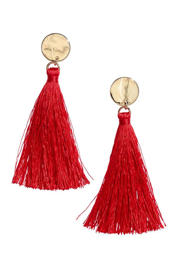 Tasselled earrings - Bright red - Ladies   H&M GB 1