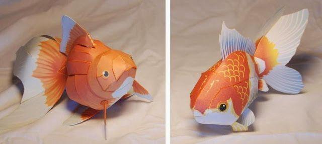 371 best paper models images on pinterest for Golden ornamental pond fish