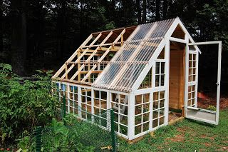 custom backyard greenhouse from recycled windows.  reuse old windows.  corrugated polycarbonate.  cold frame. Westford, MA
