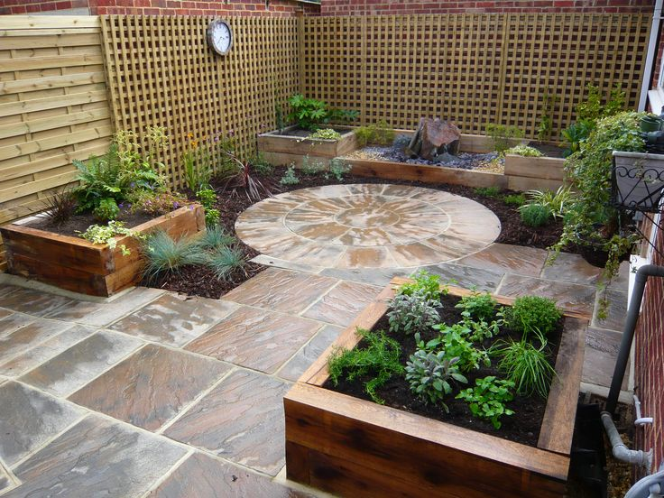 Courtyard garden low maintenance raised beds creating for Creating a low maintenance garden