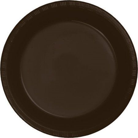 Touch of Color Plastic Dinner Plates, 9 inch, Chocolate Brown, 20 Ct