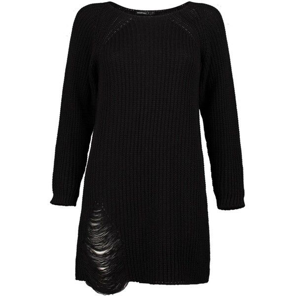 Boohoo Petite Amanda Distressed Oversized Jumper Dress | Boohoo (1,055 PHP) ❤ liked on Polyvore featuring dresses, ripped dresses, oversized dresses, torn dress, petite dresses and boohoo dresses