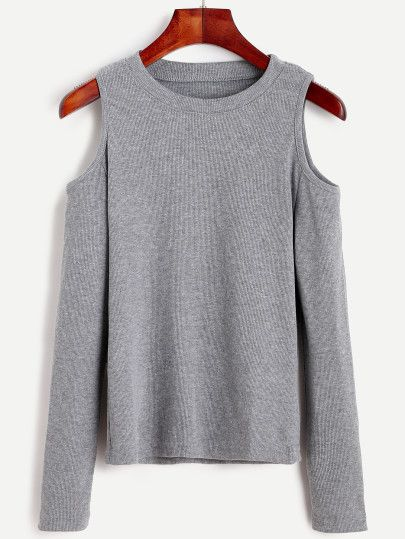Grey Open Shoulder Knit T-shirt