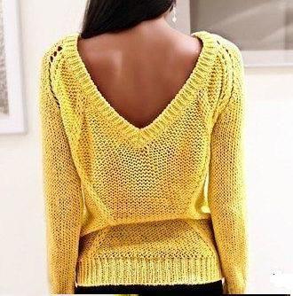 Вязание желтый свитер с косами
