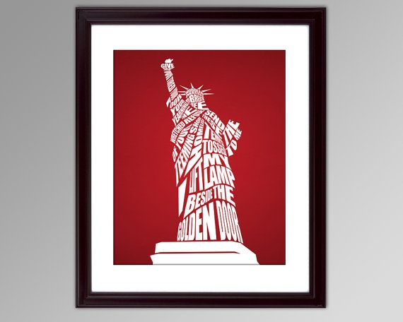Statue of Liberty Quote Typography Poster  8x10 by inkofme on Etsy, $15.00
