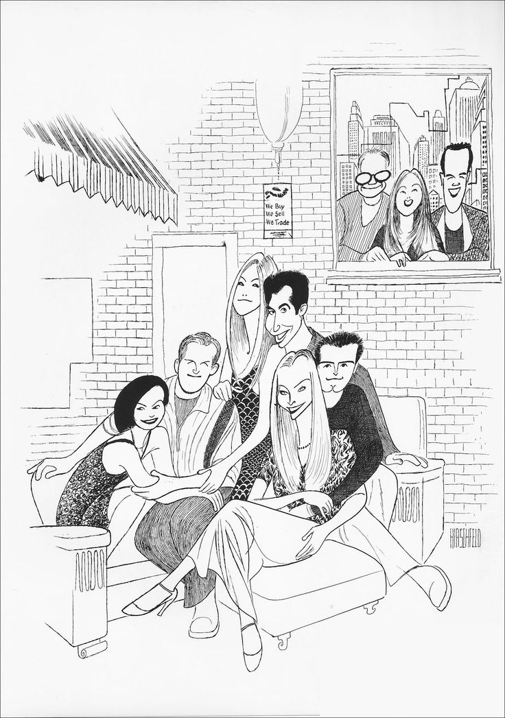 "Al Hirschfeld ~ Courtney Cox, Matthew Perry, Jennifer Aniston, David Schwimmer, Lisa Kudrow, and Matt LeBlanc in ""Friends"", with series executive producers Kevin S. Bright, Marta Kauffman, and David Crane"