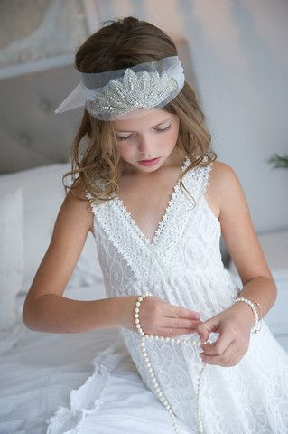 FLOWER GIRL HAIR ACCESSORIES - This is Neeve's pic! She is enjoying being involved so much! Embellished tulle headpiece | Tea Princess