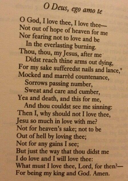 O God I love thee poem, Gerard Manley Hopkins