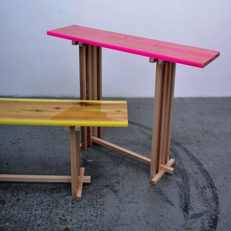 Japanese designer Jo Nagasaka of Sschemata Architecture Office presented this series of wooden tables with fluorescent resin encasing their gouged-out tops at Spazio Rossana Orlandi in Milan last month