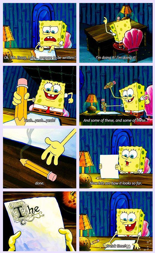 Student Starting Essay Joke Teaching Spongebob Funny