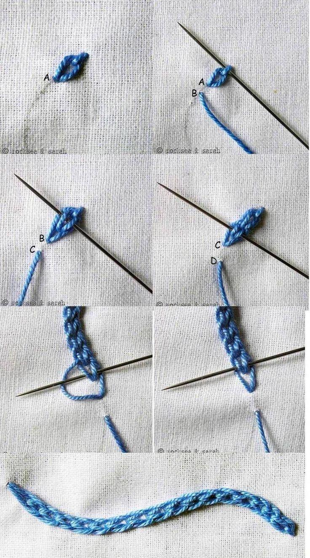 Braid Stitch Embroidery : braid, stitch, embroidery, Braided, Chain, Stitch, #embroiderystitchestutorials, #braided, #chain, #embroiderystit…, Embroidery, Stitches, Tutorial,, Tutorials,, Basic