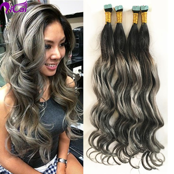 25 unique tape hair extensions ideas on pinterest braid in hair balayage ombre 2 tone 1bgrey tape hair brazilian virgin remy human hair extension skin pmusecretfo Gallery