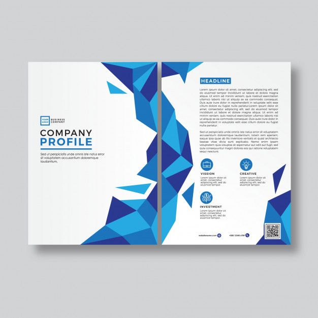 blue abstract style company profile cover template premium vector