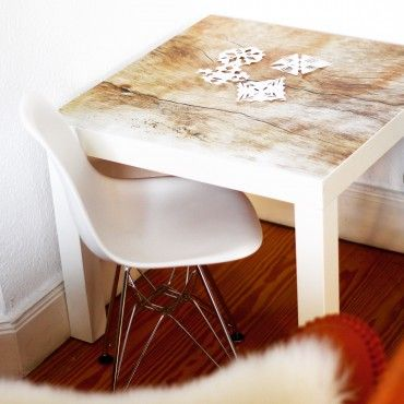 """#creatistoblogger """"Sarahplusdrei"""" hat ihren #IKEA #Lacktisch mit einer #Klebefolie aus unserer Holz Edition 2015 aufgemöbelt!"""