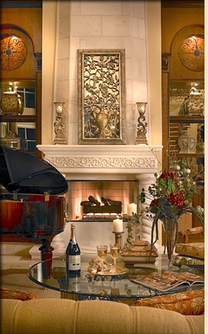 Traditionally Designed Fireplance With Precast Mantel And Decorator Accents  Built By Landmark Custom Homes, Decorated By Perla Lichi Interiors Perla  Lichi ...